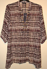 LADIES M&S COLLECTION CHIFFON KAFTAN STYLE TUNIC TOP SIZE 24 BLACK MIX BNWT