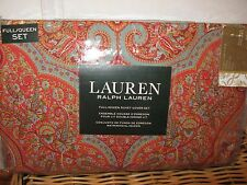 Ralph Lauren Bohemian Paisley 3P Queen Duvet Cover Shams Red Blue Tan Green