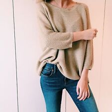 Lovely gold WHISTLES loose knit slouchy jumper 8 10 12