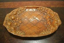 """Vintage Burwood Resin Faux Wood Serving Tray Bowl Dish Grapes and Leaves 11 x 7"""""""