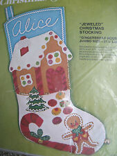 "Christmas Bucilla Felt Applique Stocking Kit,GINGERBREAD HOUSE,Size 21.5"",#2098"