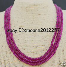 2X4mm FACETED GENUINE TOP NATURAL AAA 3 STRAND ROSE RED RUBY BEADS NECKLACE