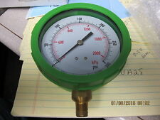 "4"" Dial 300 PSI Pressure Gauge 1/4"" NPT Lower Mount Green ABS Dual Scale 4EFH6"