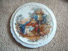 ANTIQUE VICTORIAN  CHINA TEA TILE TRIVET  - COLONIAL MAN WOMAN DOG in GARDEN EX