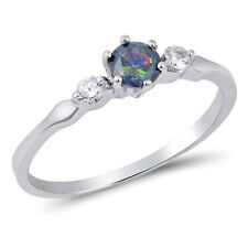 USA Seller Solitaire Rainbow Topaz Ring Sterling Silver 925 Best Jewelry Size 6