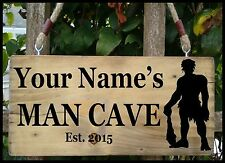 PERSONALISED NAME MAN CAVE Shed Garage Workshop Door Sign Plaque Wood Fun Gift