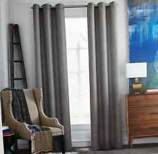 NEW Tommy Hilfiger RUSTIC WEAVE Gray Window Curtain Panels 50x96 PAIR Grommet