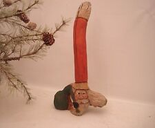 """12"""" Hand Carved Driftwood Primitive Rustic Heirloom Santa / Wall or Mantle Decor"""