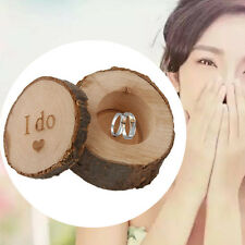 Natural 'I DO' Printed Wooden Ring Bearer Box Pillow Wood Rustic Wedding Jewelry