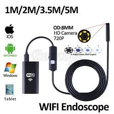 HD720P WIFI Endoscope Camera 8mm Lens 2M Snake Pipe Inspection Iphone Borescop