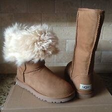 UGG Alexi Classic Tall Chestnut Suede Curly Sheepskin Boots US 6 Womens 1017185