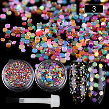 Nail Sequins Glitter Powder Colorful Paillette with Brush Manicure Decor DIY