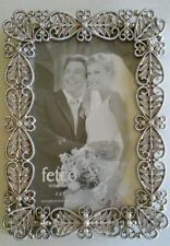"Metal Picture Photo frame, 4"" x 6""  Filigree Diamond Rhinestones Silvertone"