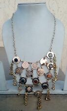 Big Old Gypsy Necklace Of Indian Tribes Banjaras Folks With Real Stone & Dangles