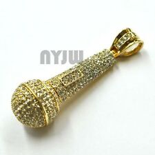 GOLD PLATED BIG ICED OUT MC HIP HOP RAPPER MICRO PHONE PENDANT ONLY KC89491G