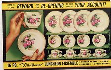 a Postcard Wildflower Dishes Warehouse Furniture Mart 1 1/2 Cent Rockfield Ill
