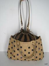 $3074 FENDI B FAB Handbag Tan Leather Navy Studded Gold Hardware Luxury Bag EUC