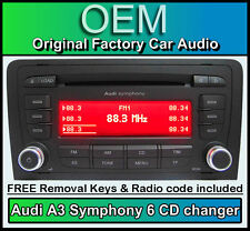 Audi A3 6 CD changer MP3 player, Audi Symphony car stereo with radio code + keys