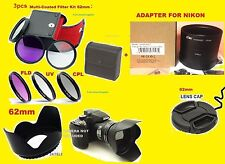 ADAPTER+FILTER KIT+HOOD+LENS CAP 62mm AptTo CAMERA Nikon Coolpix L810 L820 L830