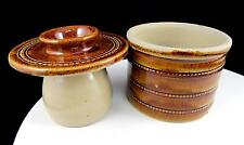 "POTERIE DU BARRY SIGNED MADE IN FRANCE BROWN RINGED 3 1/2"" BUTTER KEEPER"