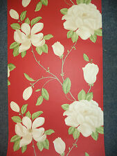 FEATURE WALL WALLPAPER  DESIGN LAUREN RED AND CREAM LARGE FLOWER 10821