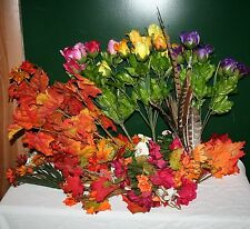 "Lot of 45 SILK FLOWERS PHEASANT FEATHERS FLORAL FOAM FALL LEAVES 6""-20"" NEW!"