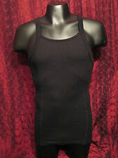 MAN ZONE Ribbed Side Cotton Tank Top BLACK  (Small)