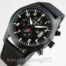 42mm Parnis PVD case black dial WATCH Full chronograph quartz week and date P245