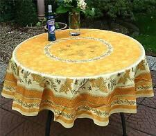 Tischdecke Provence 180 cm rund gelb aus Frankreich, pflegeleicht und bügelfrei