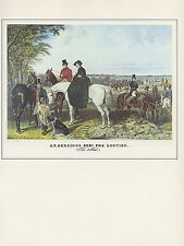 "1974 Vintage FOX HUNTING ""J. F. HERRING'S SENR."" HUNT WOMAN COLOR Art Lithograph"