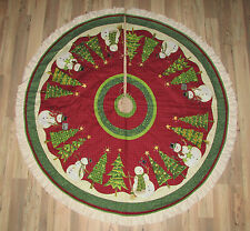 Top Hat Snowman Debbie Mumm Handmade Painted Fabric Christmas Tree Skirt  60""