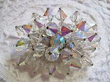Vintage Aurora Borealis Rainbow Crystal Rhinestone Silver Plated Brooch Pin
