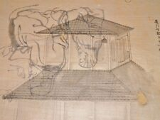 DESSIN ORIGINAL ANCIEN TEMPLE  Encre de Chine Pelure du JAPON Meiji Circa 1900