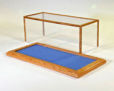 Golden Oak Model Car Display Case w/Blue Felt Floor - 1/24 Scale - C9