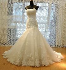 White/ivory Lace Mermaid Wedding Dress Bridal Gown Custom Size 4 6 8 10 12 14+++