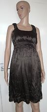 DKNY, CLAY/BROWN, SIZE 6, SLEEVELESS RUCHING FRONT DRESS, 94% SILK, PRE-LOVED