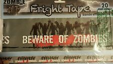 Beware of Zombies, Zombie Warning Fright Tape Halloween Decoration, 20 ft long