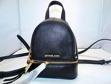 Michael Kors Rhea Zip X-Small / Mini Messenger Crossbody Bag Backpack Black/Gold