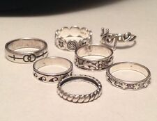 Lot of 7 Sterling Silver Women's Rings Fun And Fancy Sizes 5-8 Marked 925  A47