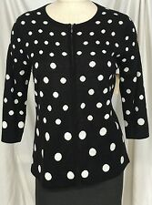 Coldwater Creek Sweater Cardigan Zip Polkadot   Black White Wool Blend Small 8