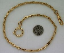 Watch Chain 14K Gold Plated Civil War Weave Oversized Spring Ring 15 Inches USA