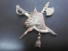 Vintage Sterling Silver Helmet Sword and Battle Axe Pin