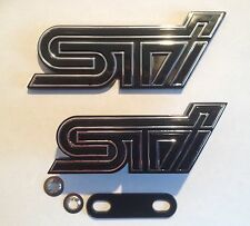 SUBARU IMPREZA STI BOOT & FRONT GRILL BADGE SET BADGE X2 BLACK AND CHROME