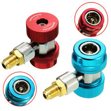 R134a A/C Low/High Quick Coupler Adapters With Extractor Valve Core Manifold