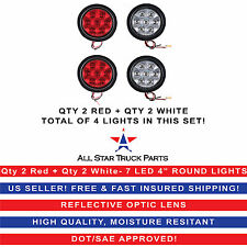"""4"""" Inch 7 LED Round Stop/Backup/Reverse Truck Tail Light Kit - 2 Red + 2 White"""