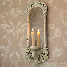 Cream mirror wall sconce candle shabby vintage chic hallway living room pretty