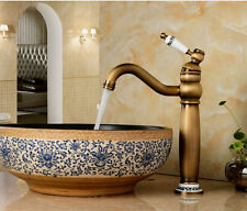 Deck Mounted Bathroom Basin Sink  Mixer Tap Antique Brass Finish