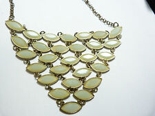 Vintage gold tone metal light green opalescent plastic rhinestone bib necklace