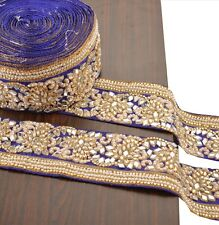 Hand Beaded Sari Border 1 YD Trim Blue Craft Lace Mirror Work Pearl Beads