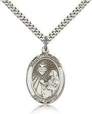 Saint Margaret Mary Alacoque Medal For Men - .925 Sterling Silver Necklace On...
